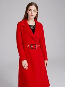 曼天雨女装新品红色大衣