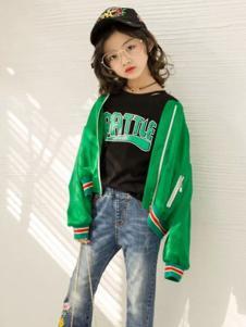 欧抱抱童装新品绿色夹克