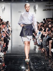 2018凯伦诗蓝色网纱衬衫