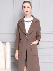 柏芙澜女装新款灰棕色大衣