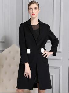比雨竹女装新款黑色大衣