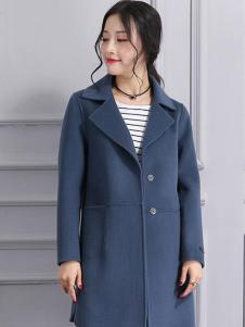 柏芙澜女装新款青色大衣