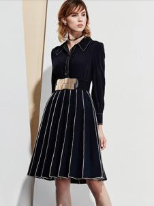 麦光女装新款黑色连衣裙