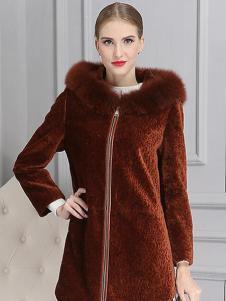 柏芙澜女装新款毛领大衣