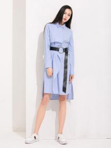 丹比奴女装蓝色连衣裙