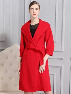 比雨竹女装新款红色大衣