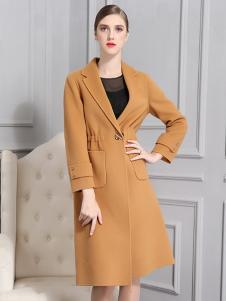 比雨竹女装新款姜黄色大衣