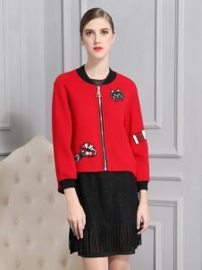 比雨竹女装新款红色外套