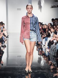 2018凯伦诗新品条纹拼接衬衫