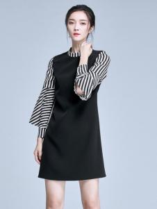 麦光女装新款黑色拼接连衣裙