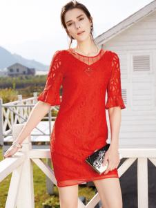 布根香女装红色蕾丝裙