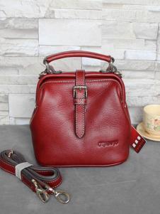 素唯女包2018新款红色斜跨手提包