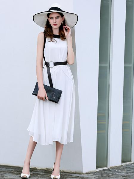 例格女装白色连衣裙