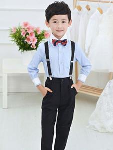 淘气有约2018男童宋衬衫+吊带西裤