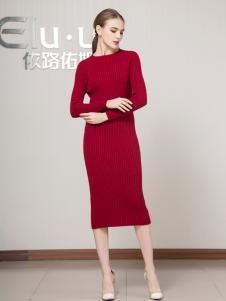 依路佑妮女装2018红色包臀裙