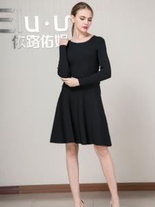 依路佑妮女装连衣裙黑色新款