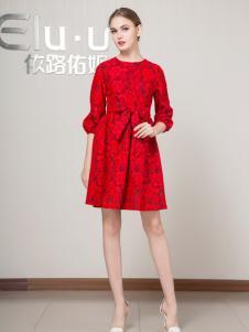 依路佑妮女装红色蕾丝裙