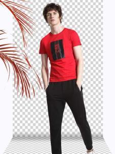 新升流派新款红色印花T恤