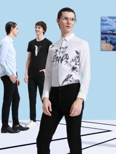 新升流派新款印花长袖衬衫