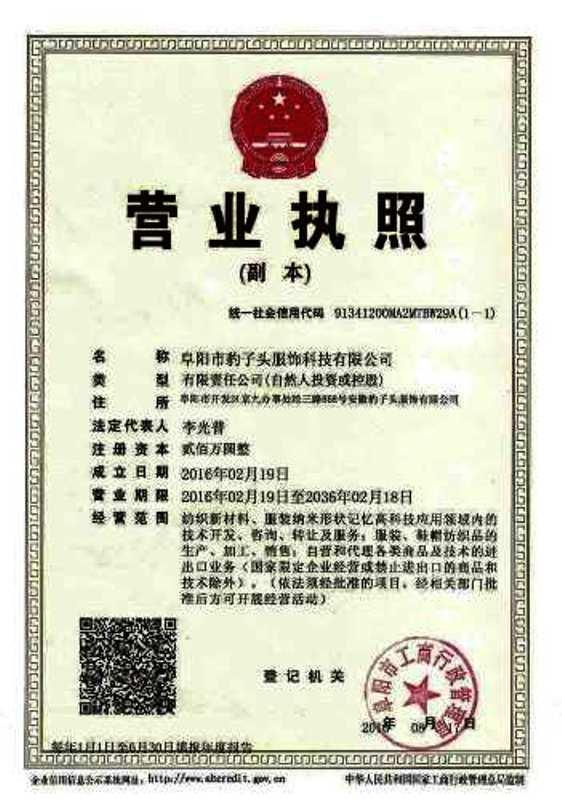 阜阳市豹子头服饰科技有限公司企业档案