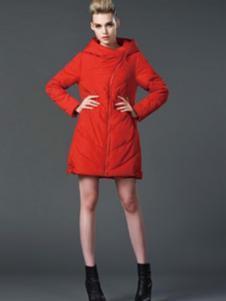 阿伊米红色中长棉衣