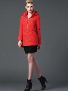阿伊米女装红色中长款羽绒