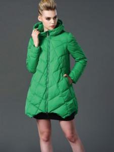 阿伊米中长绿色棉衣