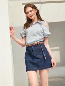 金蝶茜妮新款淡蓝色衬衫