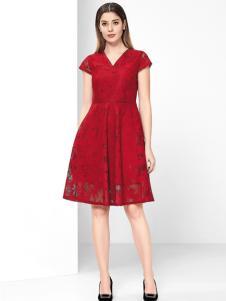 芮色红色连衣裙
