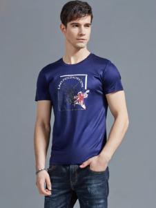 老爷车男装紫色印花T恤18新款