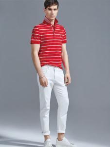 老爷车男装18红色条纹plo衫