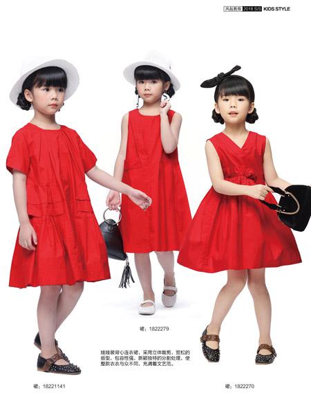 JOJO童装女童红色连衣裙