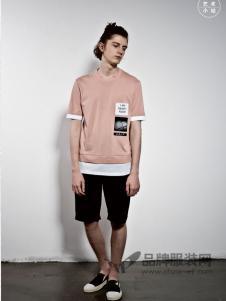 艺术小站男装2018春夏时尚个性拼接短袖T恤