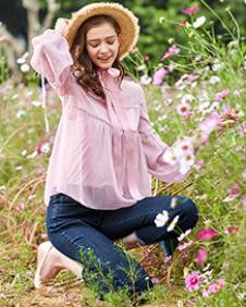 春美多2018夏季粉色衬衫