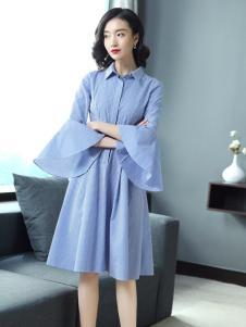 YUSAM雨珊女装2018喇叭袖连衣裙