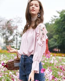 春美多2018夏季雪纺花边衬衫