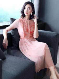 雨珊女装连衣裙粉色18新款
