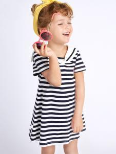 的纯童装时尚新品蓝条纹裙装
