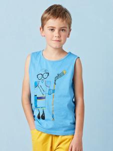 的纯童装时尚新品蓝色T