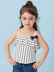 的纯童装时尚新品条纹吊带