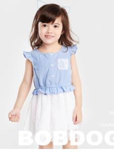 的纯童装时尚新品淡蓝色裙装