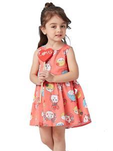 的纯童装时尚新品西瓜红裙装