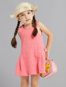 的纯童装时尚新品女童西瓜红裙装