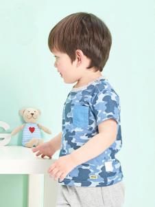 的纯童装时尚新品男童蓝色T恤