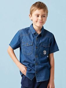 的纯童装时尚新品牛仔衬衫