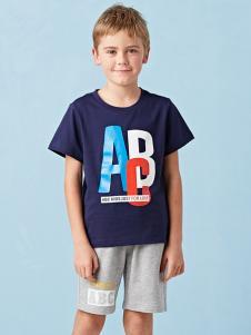 的纯童装时尚新品男童藏青色T