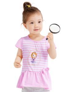 的纯童装时尚新品粉色条纹