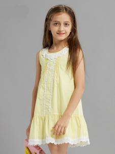 的纯童装时尚新品黄色裙装