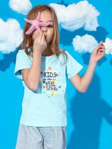的纯童装时尚新品蓝色T恤