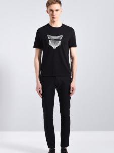 恩咖UNKUT男装18新款黑色印花T恤